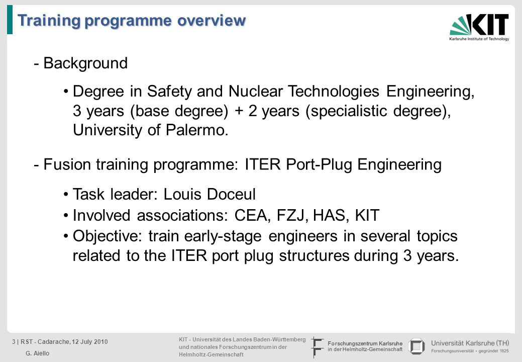 Training programme overview