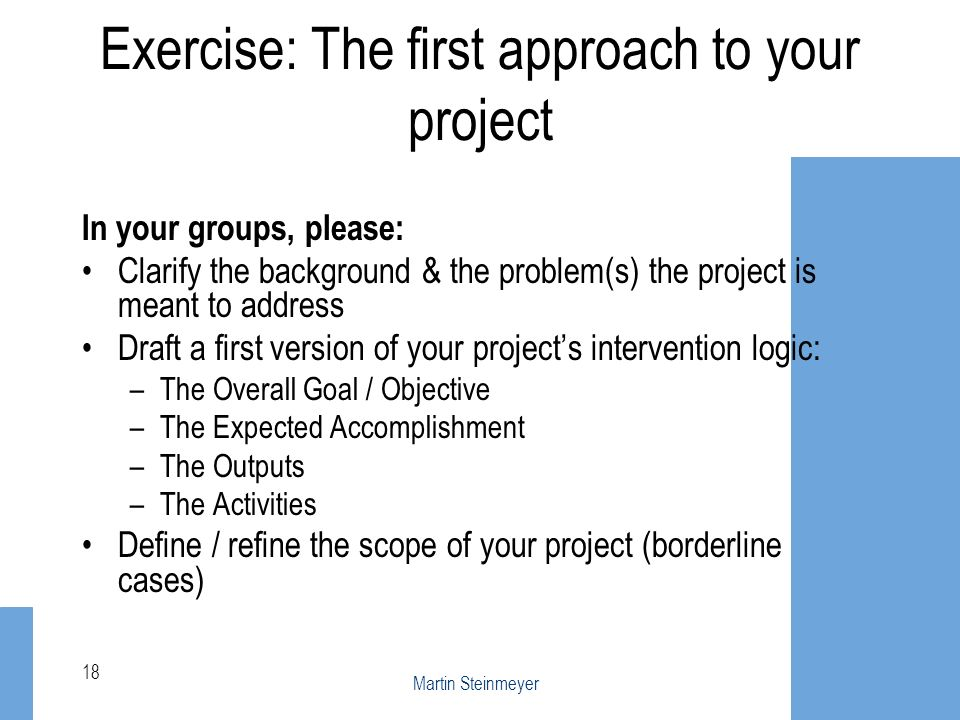 Exercise: The first approach to your project