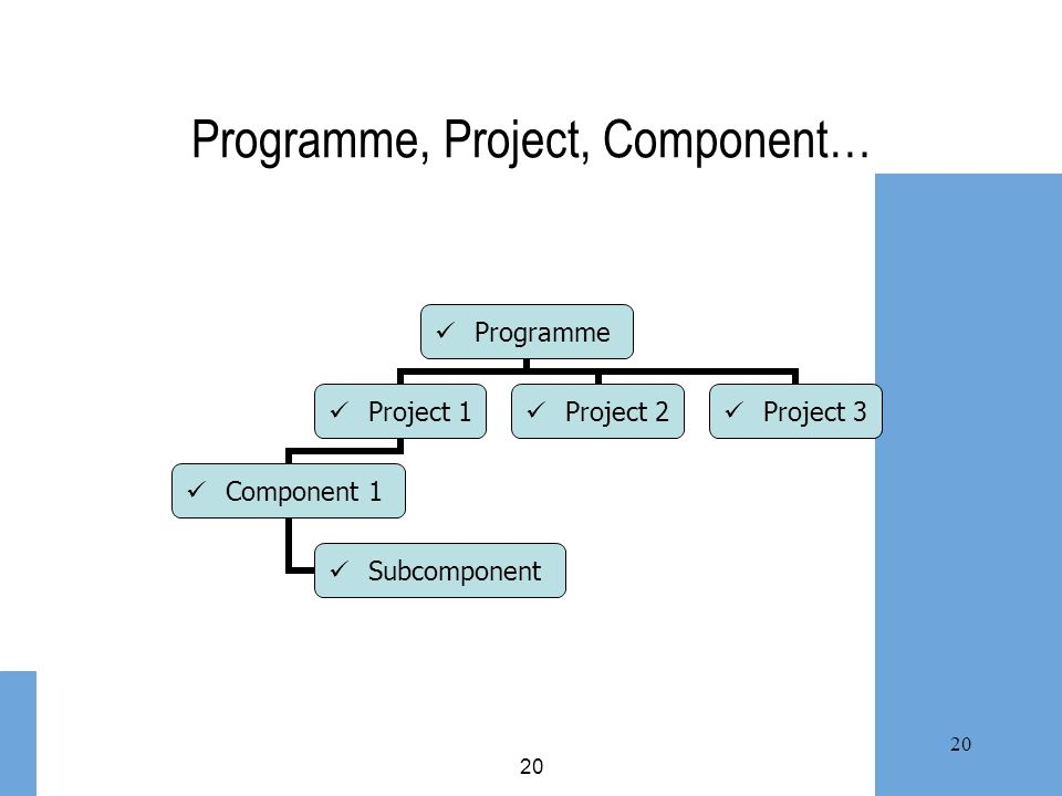 Programme, Project, Component…