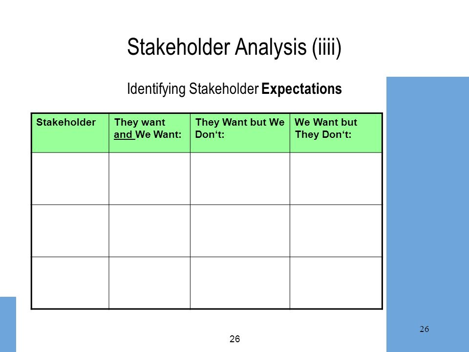Stakeholder Analysis (iiii) Identifying Stakeholder Expectations