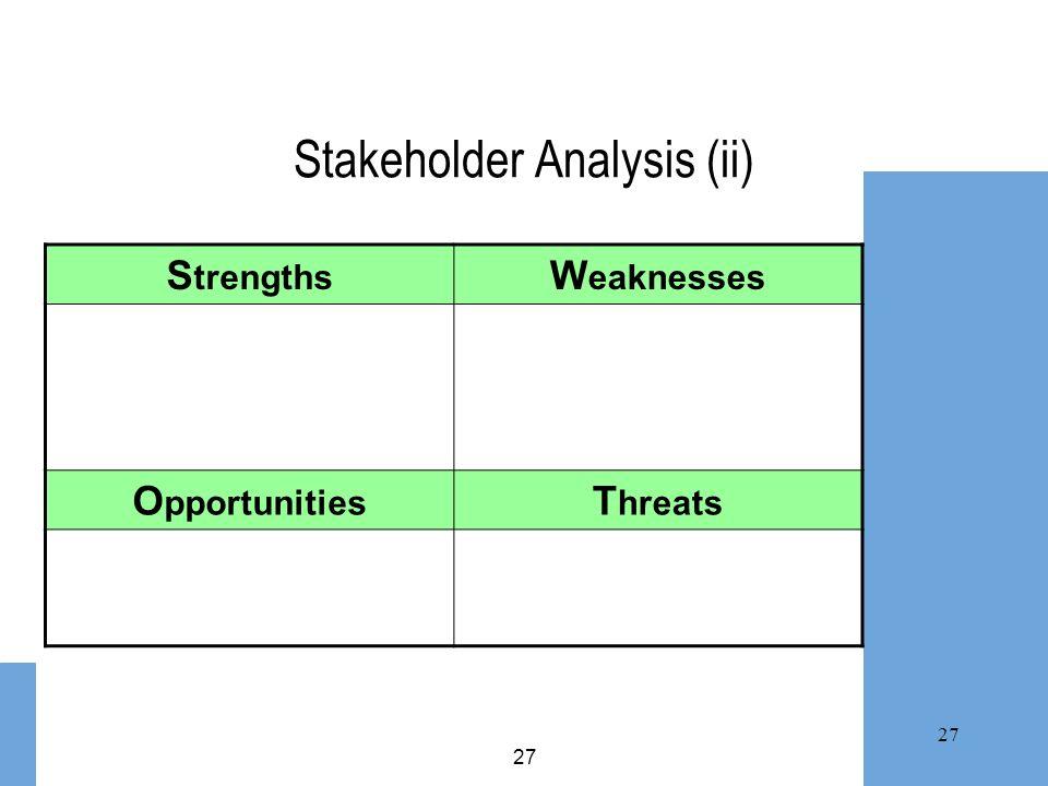 Stakeholder Analysis (ii)