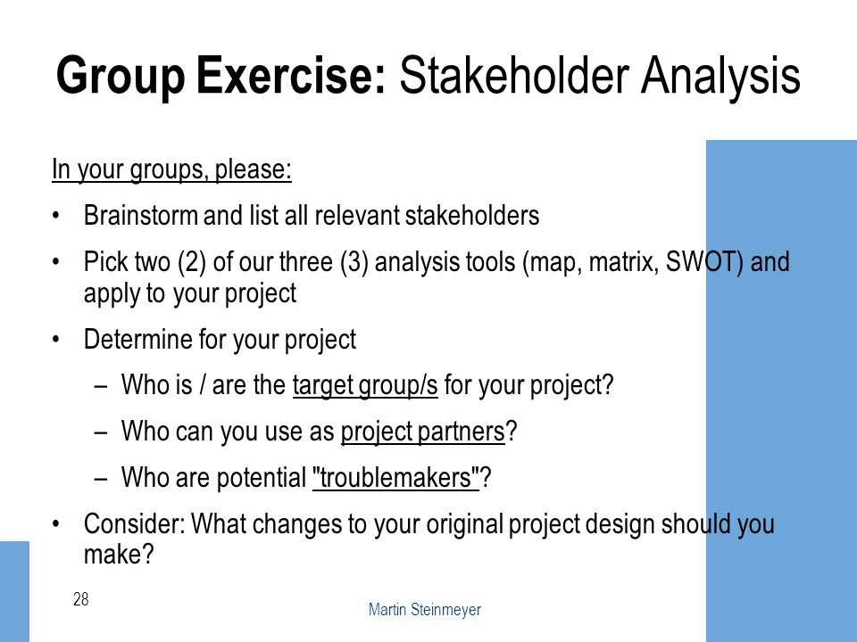 Group Exercise: Stakeholder Analysis