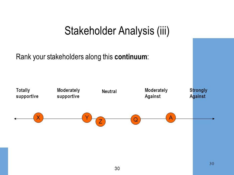 Stakeholder Analysis (iii)