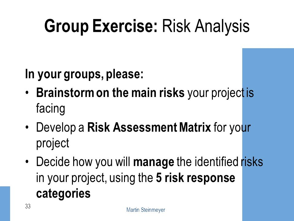 Group Exercise: Risk Analysis