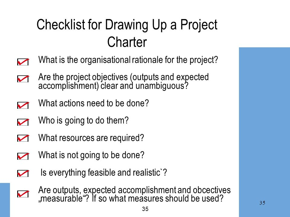 Checklist for Drawing Up a Project Charter