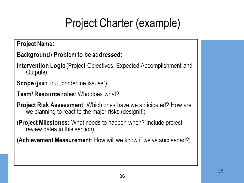 Project Charter (example)