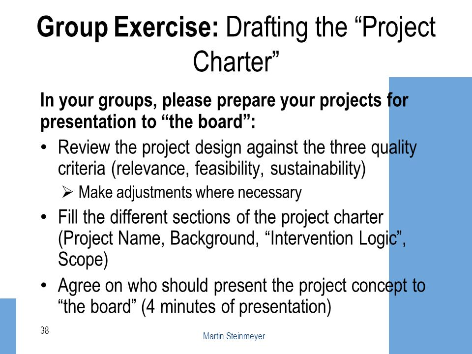 Group Exercise: Drafting the Project Charter
