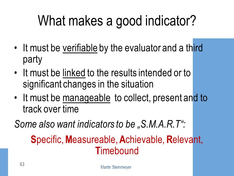 What makes a good indicator