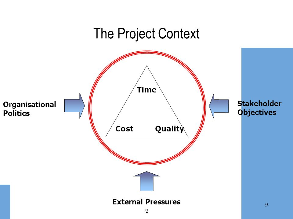 The Project Context Organisational Politics Stakeholder Objectives