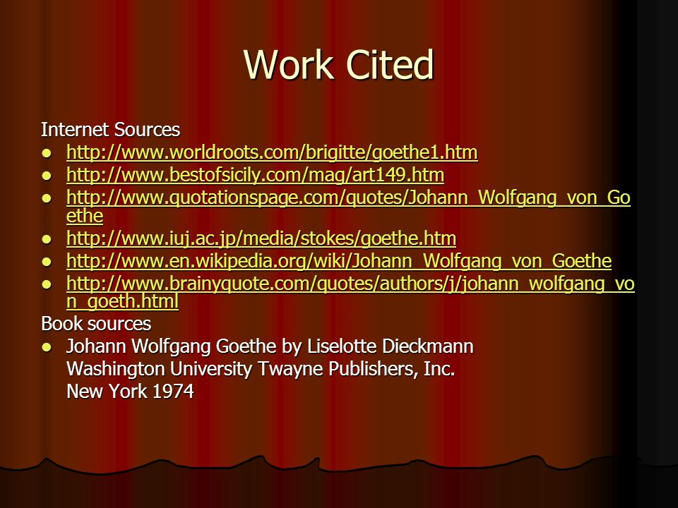Work Cited Internet Sources