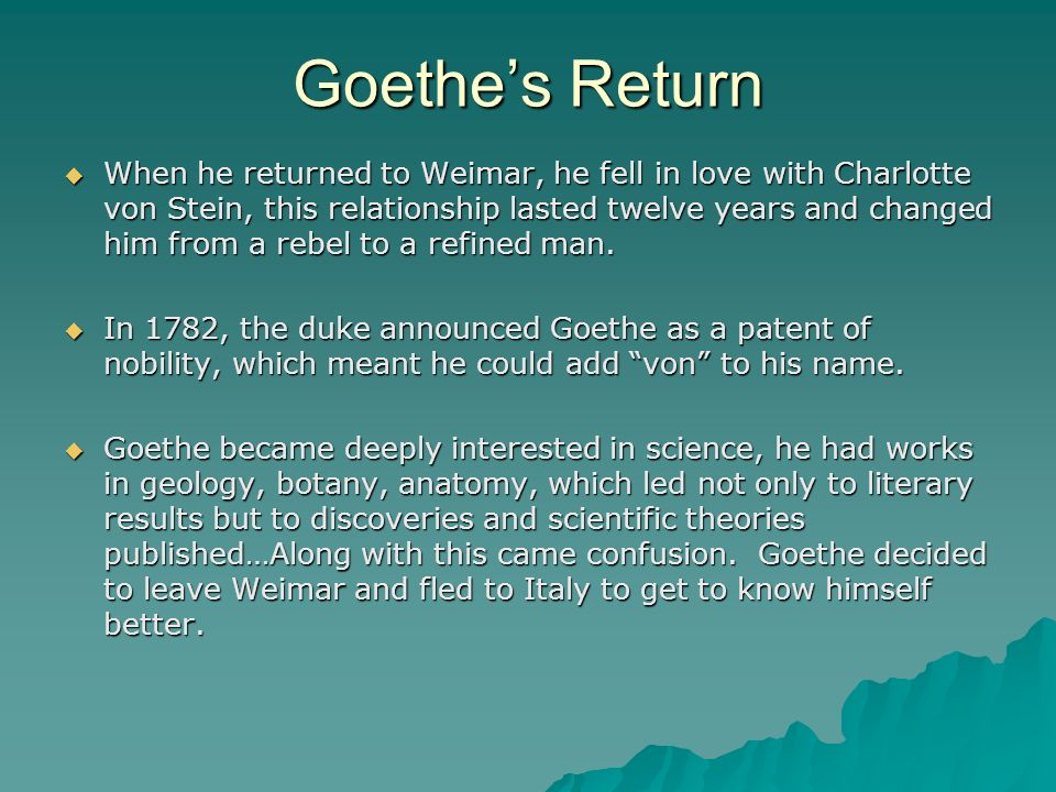 Goethe's Return