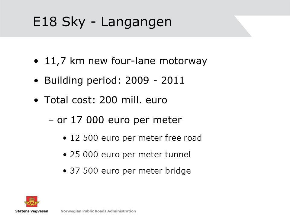 E18 Sky - Langangen 11,7 km new four-lane motorway