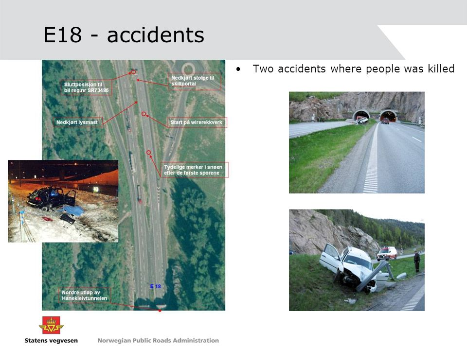 E18 - accidents Two accidents where people was killed