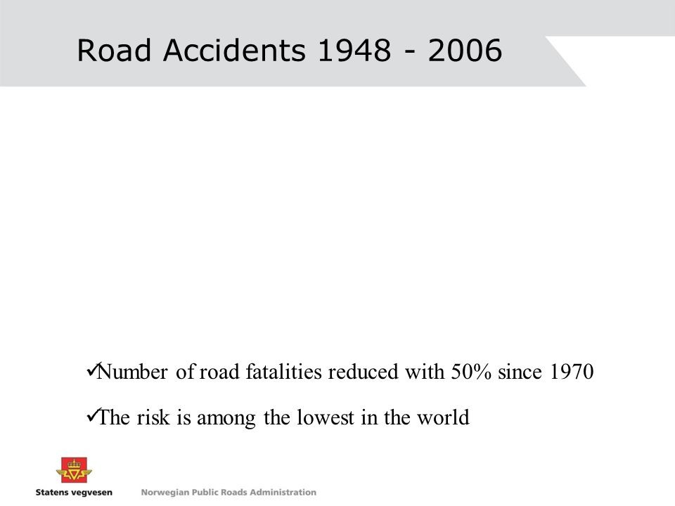 Road Accidents 1948 - 2006 Number of road fatalities reduced with 50% since 1970.