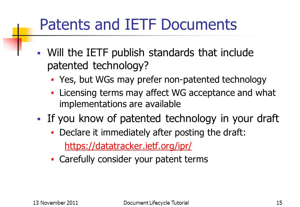 Patents and IETF Documents