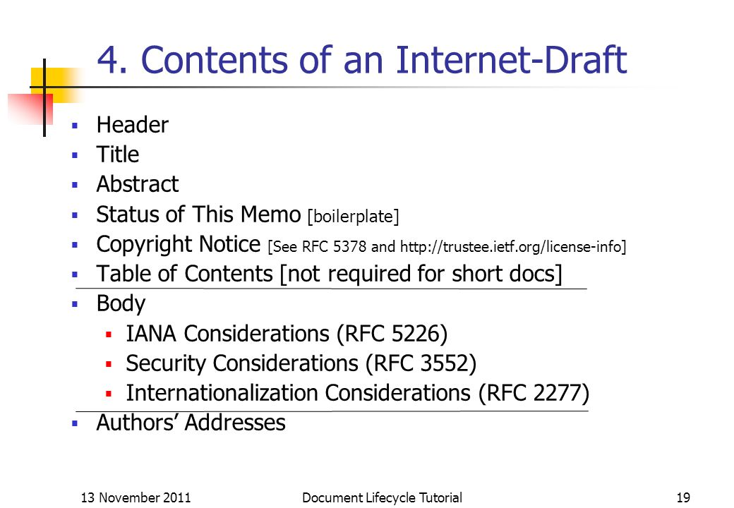 4. Contents of an Internet-Draft