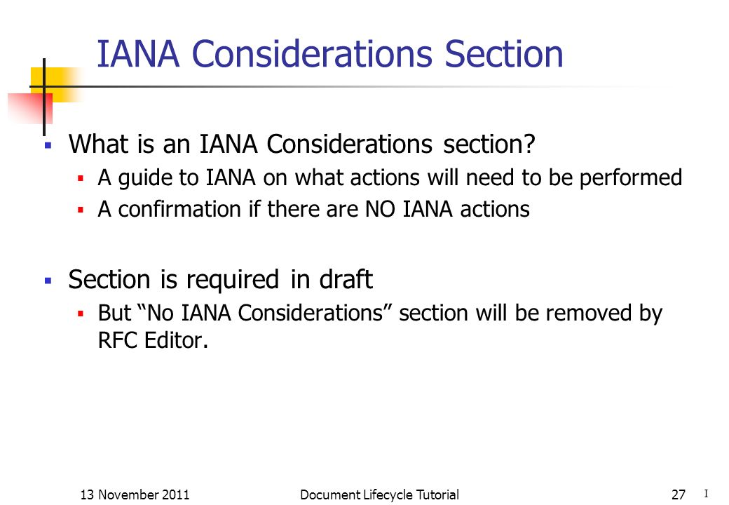 IANA Considerations Section