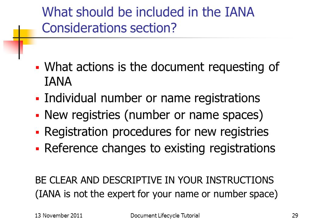What should be included in the IANA Considerations section