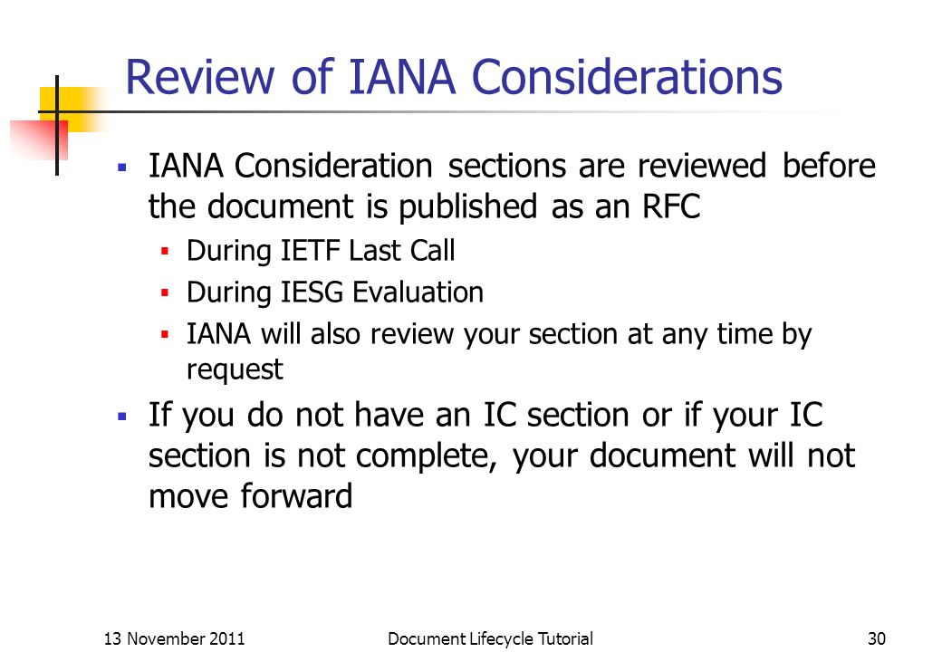 Review of IANA Considerations