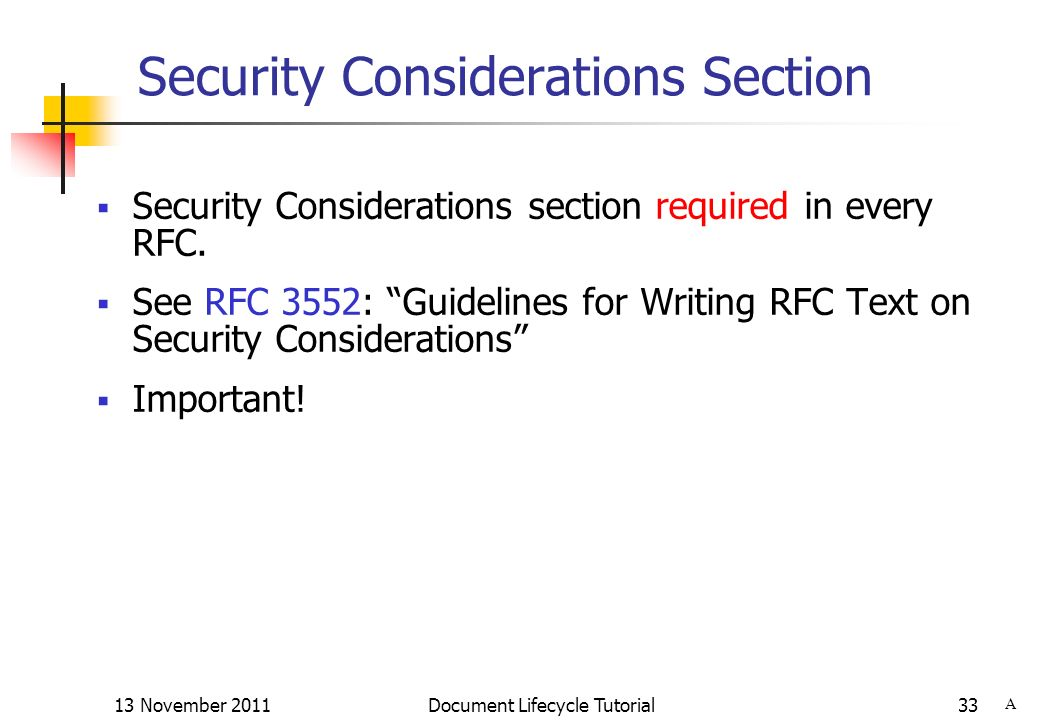 Security Considerations Section