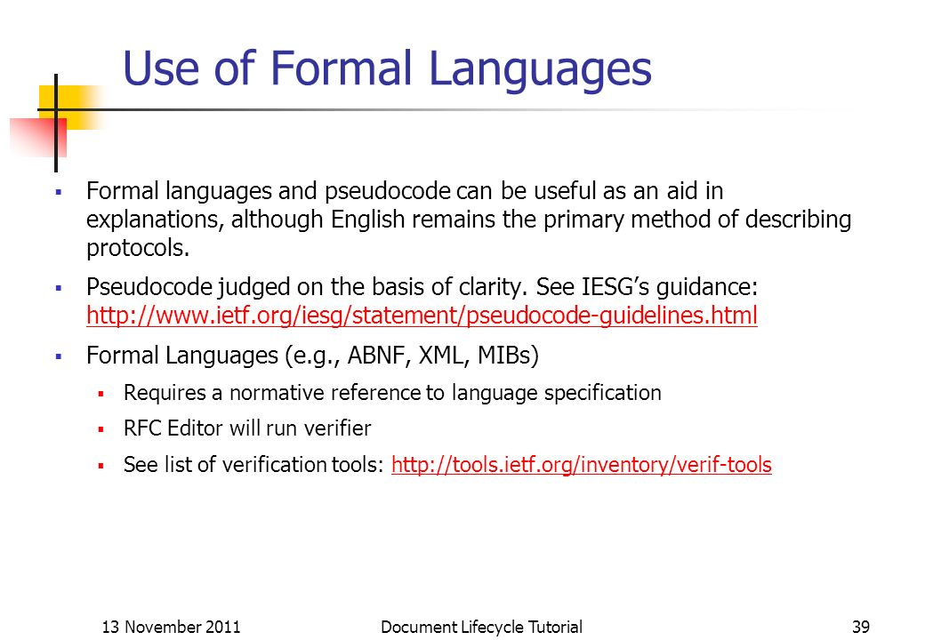 Use of Formal Languages