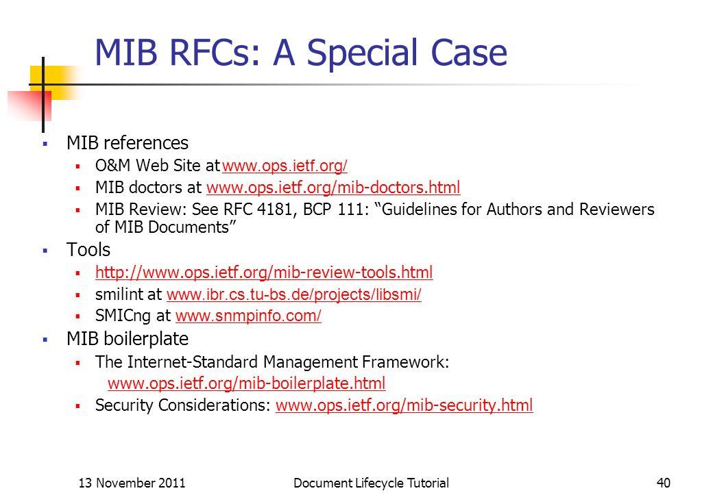 MIB RFCs: A Special Case