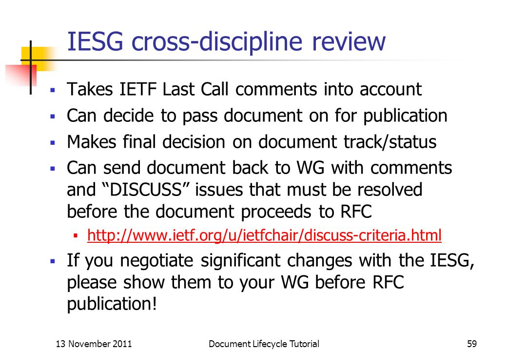 IESG cross-discipline review