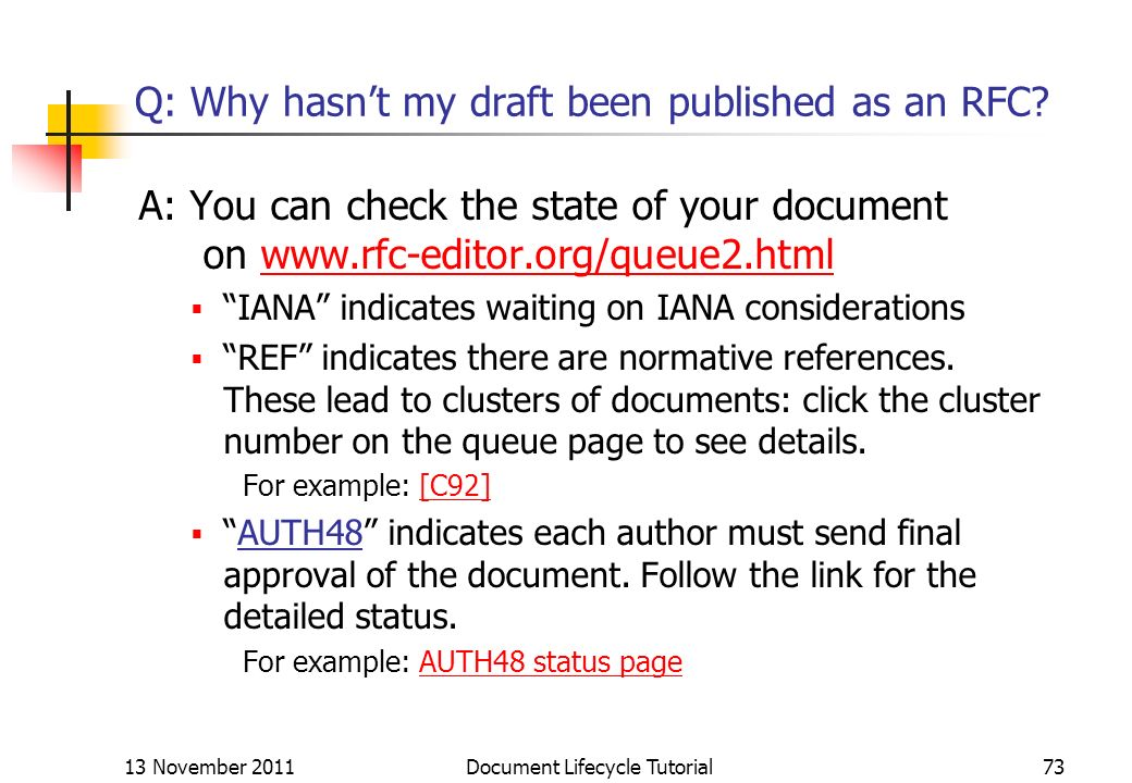Q: Why hasn't my draft been published as an RFC