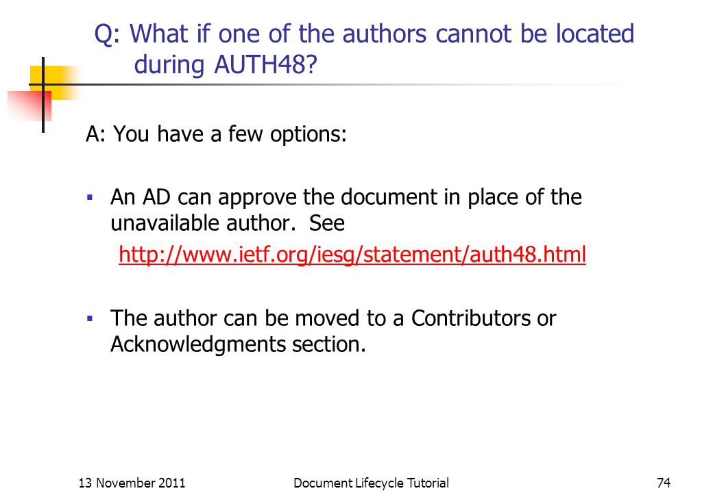 Q: What if one of the authors cannot be located during AUTH48