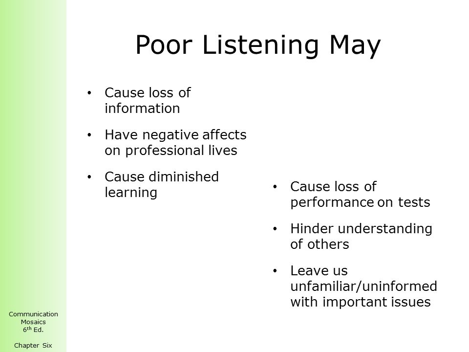 what causes poor listening and how to overcome it Poor listening skills difficulty with reading comprehension here's everything  you need to know about central auditory processing disorders — including a.