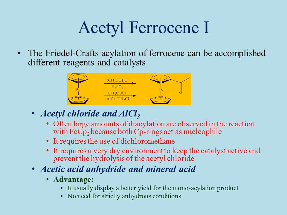 Friedel crafts acylation of ferrocene acetylferrocene | Research