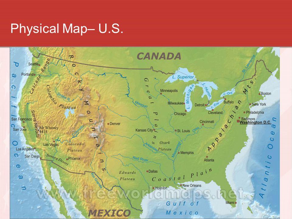 3 Physical Map U S