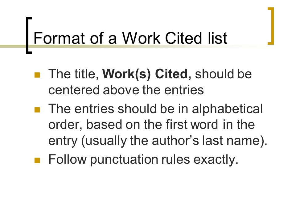 how to put work cited in alphabetical order on word
