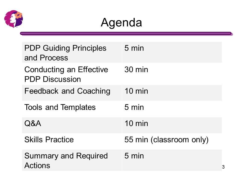 Agenda PDP Guiding Principles And Process 5 Min  Pdp Templates
