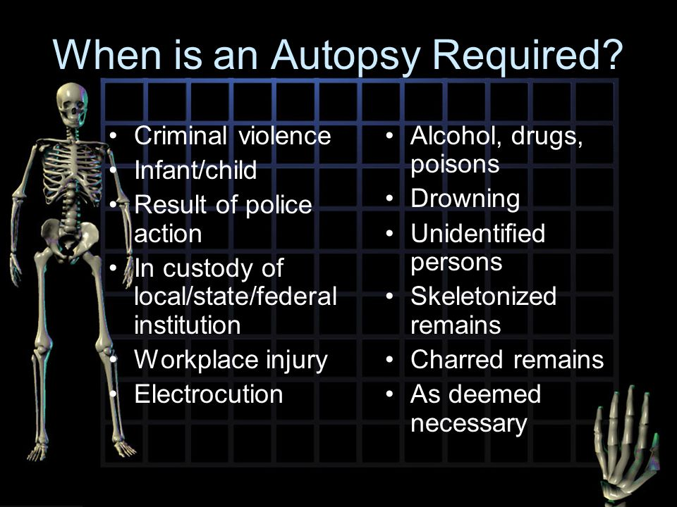 autopsy and external exam How autopsies work  an hour before and after the autopsy for doing the external  of the information that they've received from the autopsy exam,.