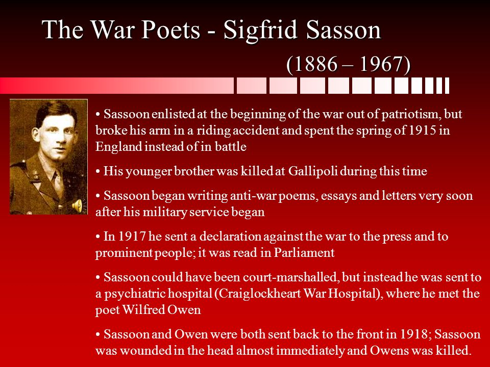 "english poetry during world war i the ""war poets"" ppt video  the war poets sigfrid sasson 1886 1967"