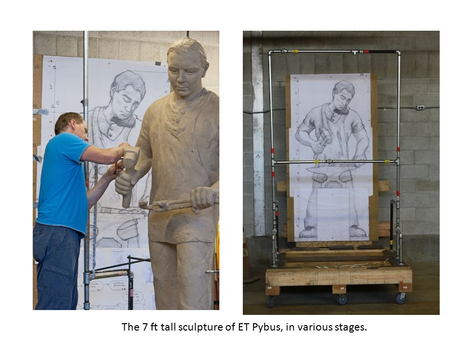 The 7 ft tall sculpture of ET Pybus, in various stages.