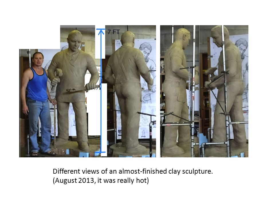 Different views of an almost-finished clay sculpture.