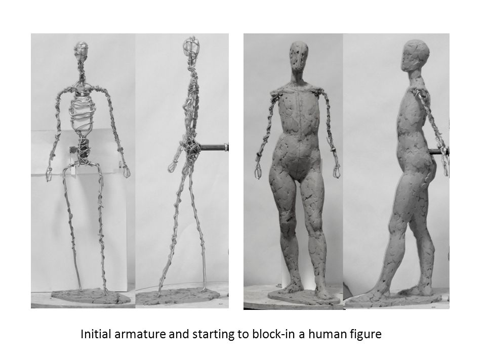 Initial armature and starting to block-in a human figure