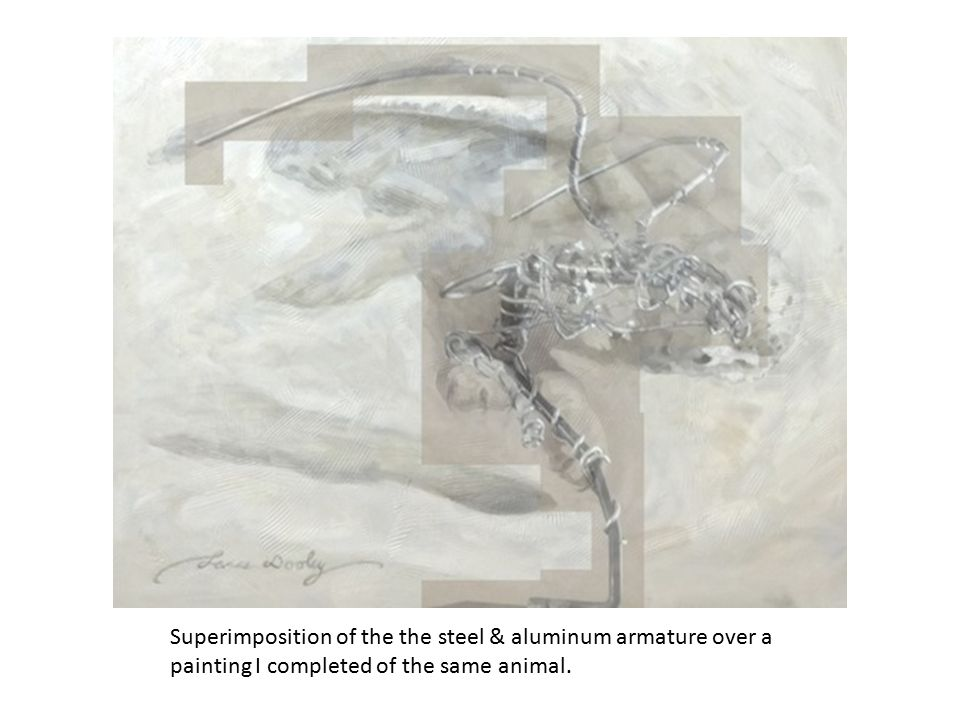 Superimposition of the the steel & aluminum armature over a painting I completed of the same animal.