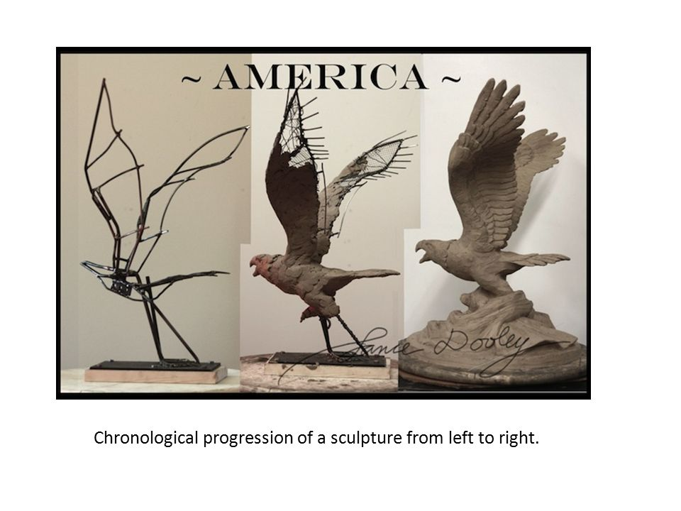 Chronological progression of a sculpture from left to right.
