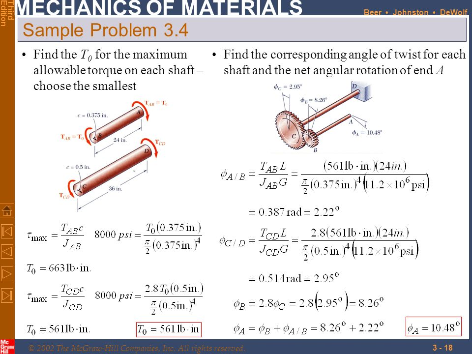 Sample Problem 3.4 Find the T0 for the maximum allowable torque on each shaft – choose the smallest.