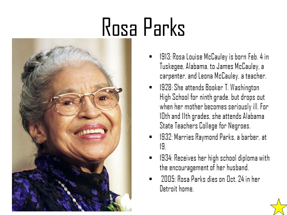 a biography of rosa mccauly parks a civil rights activist An article in the detroit news noted, civil rights leaders and marketing experts fear the products cheapen parks' image and legacy as the mother of the civil rights movement further reading on rosa lee mccauley parks.