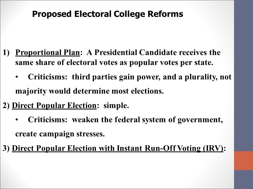 electoral college vs popular vote essay (results page 3) view and download electoral college essays examples also discover topics, titles, outlines, thesis statements, and conclusions for your electoral college essay.