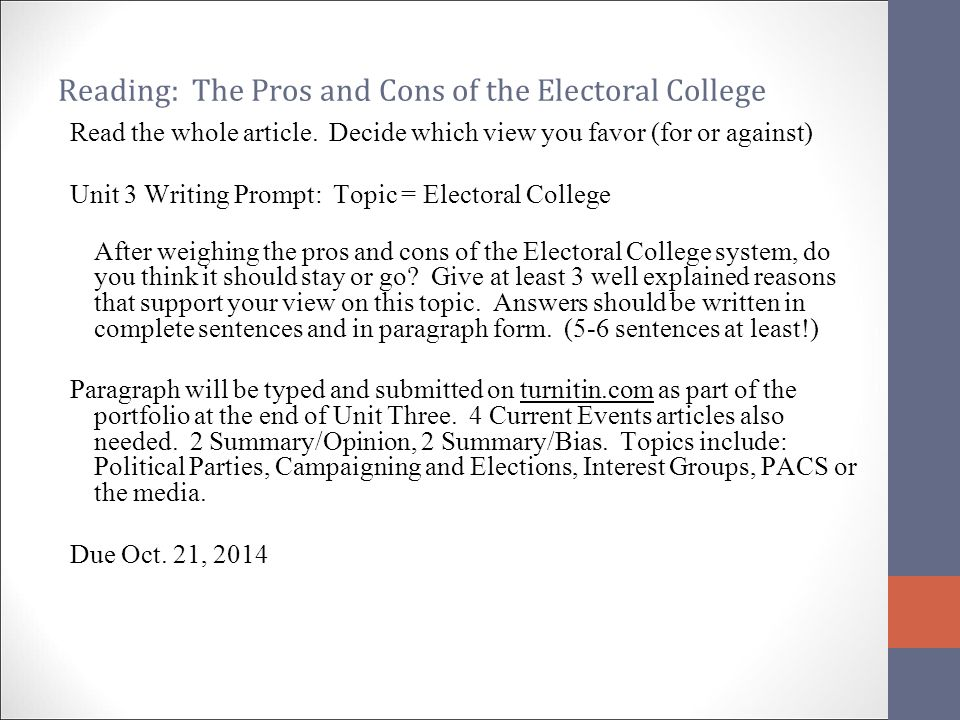 essay on election in college Free and fair elections and free and fair elections politics essay the united states also uses a unique system called the electoral college to.