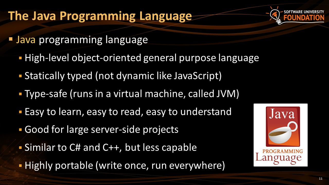 java language Get an introduction to the structure, syntax, and programming paradigm of the java language and platform in this two-part tutorial learn the java syntax that youre most likely to encounter professionally and java programming idioms you can use to build robust, maintainable java applications.