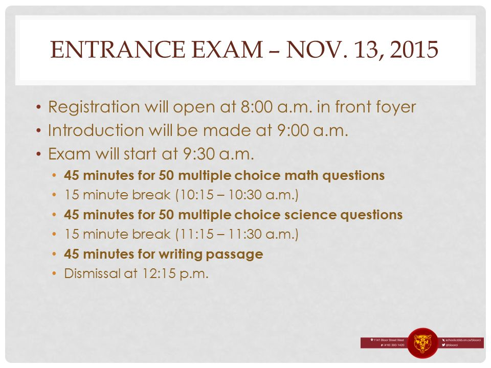 Foyer Entrance Exam : Tops on bloor application process ppt download