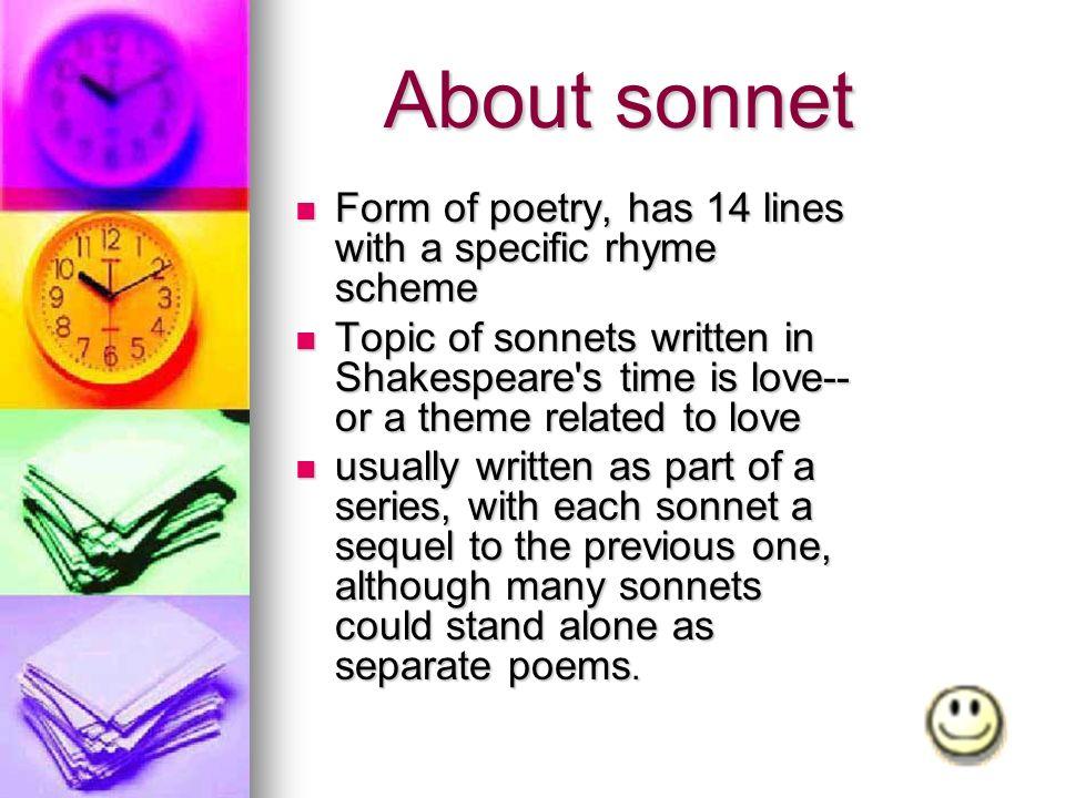 Sonnet About sonnet Brief History about sonnet Shakespearean ...