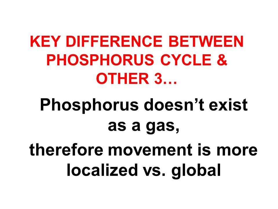 Key difference between PHOSPHORUS Cycle & Other 3…