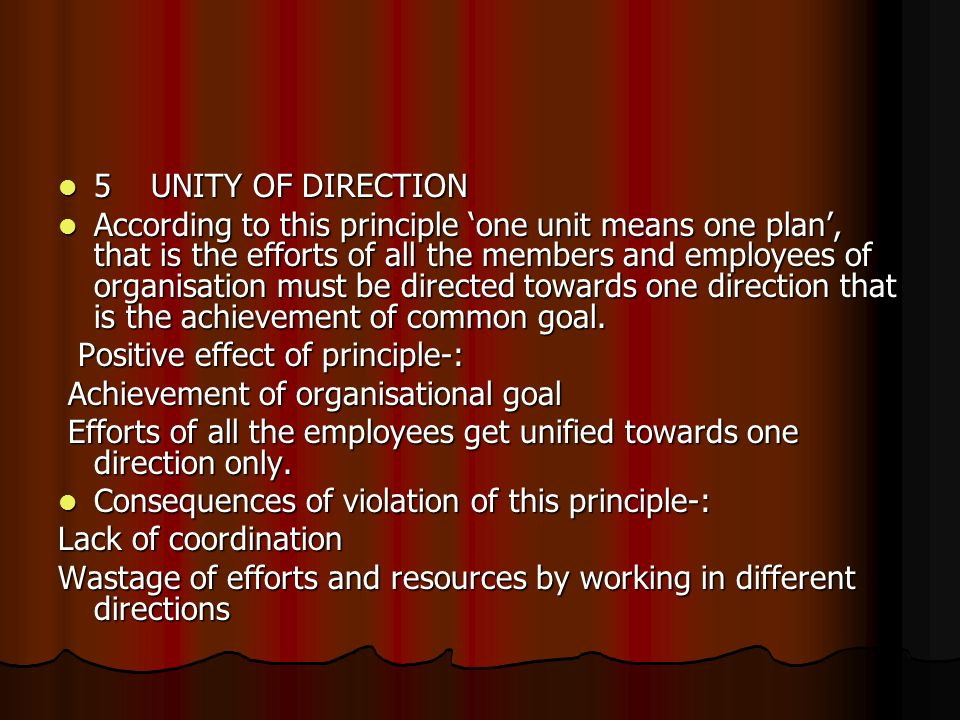 5 UNITY OF DIRECTION
